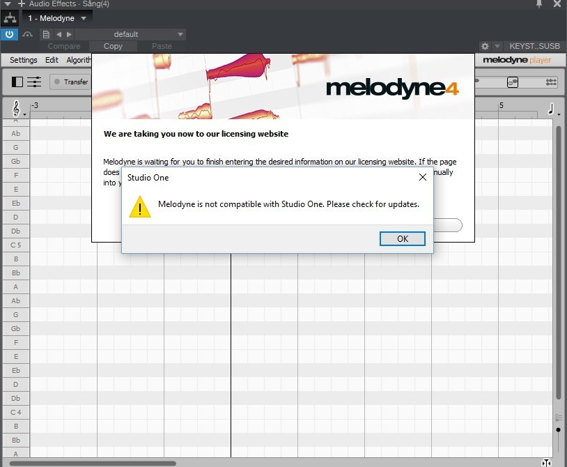 Melodyne is not compatible....jpg